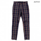 ELWOOD CLOTHING TARTAN PLAID SLIM TAPERED PANTS【NAVY】